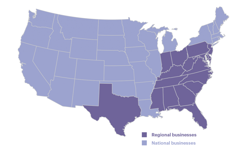An illustrated map of the U.S. showing the market reach of Truist's national and regional businesses