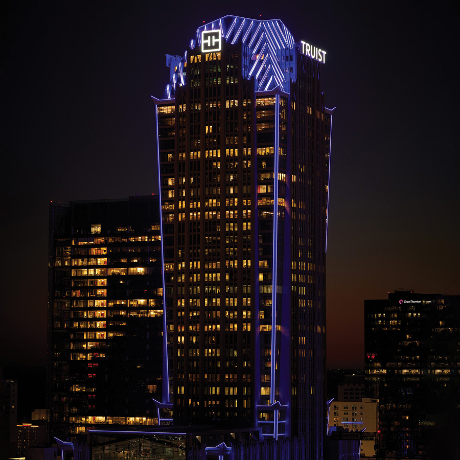Truist headquarters building at night